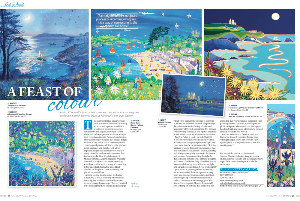 Cornwall Living Magazine feature on Cornish Artists John Dyer and Joanne Short