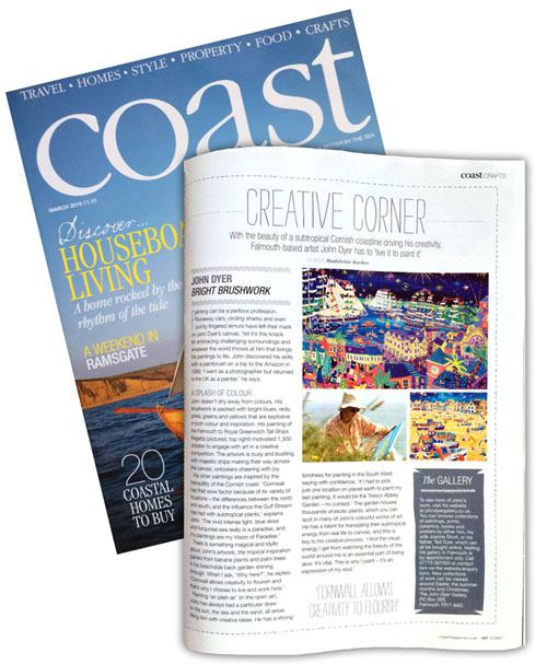 Feature on artist John Dyer in Coast Magazine