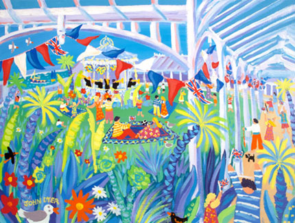 John Dyer painting of the Heritage Lottery funded Gyllyngdune Gardens and bandstand in Falmouth