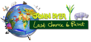 Last Chance to Paint John Dyer project logo of planet earth with endangered people, plants and animals