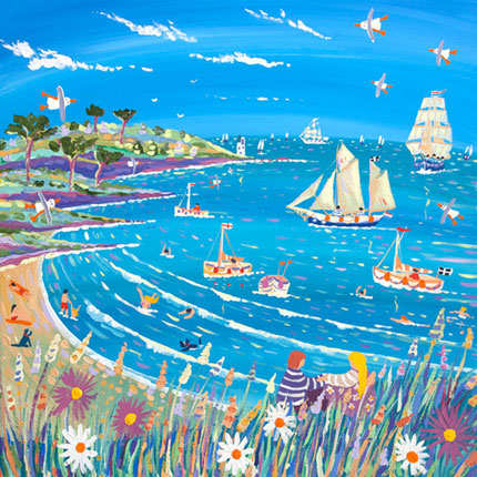 John Dyer painting of the Roseland Peninsular in Cornwall with tall ships