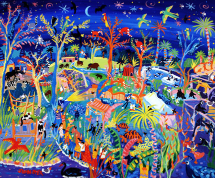 Painting of Newquay zoo at night by John Dyer