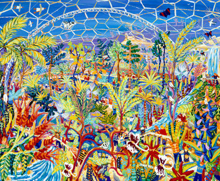 The Eden project rainforest biome captured in paint by Cornish artist and artist in residence for the Eden Project, John Dyer