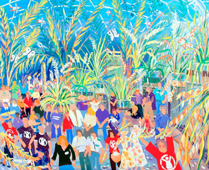 John Dyer painting for Save the Children of the Rice harvest at the Eden Project