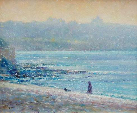 Ted Dyer painting in the permanent collection of Falmouth Art Gallery. Walking in a Snow Flurry, Gyllyngvase Beach, Falmouth