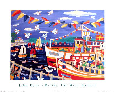 John Dyer Art Group Beside The Wave Gallery art poster of Falmouth in Cornwall