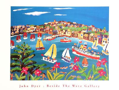John Dyer Art Group Beside The Wave Gallery art poster of Campion Days, Flushing, Cornwall. As featured on BBC Eastenders