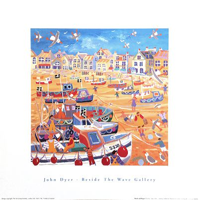John Dyer Art Group Beside The Wave Gallery art poster of Boats and Ropes, St Ives, Cornwall