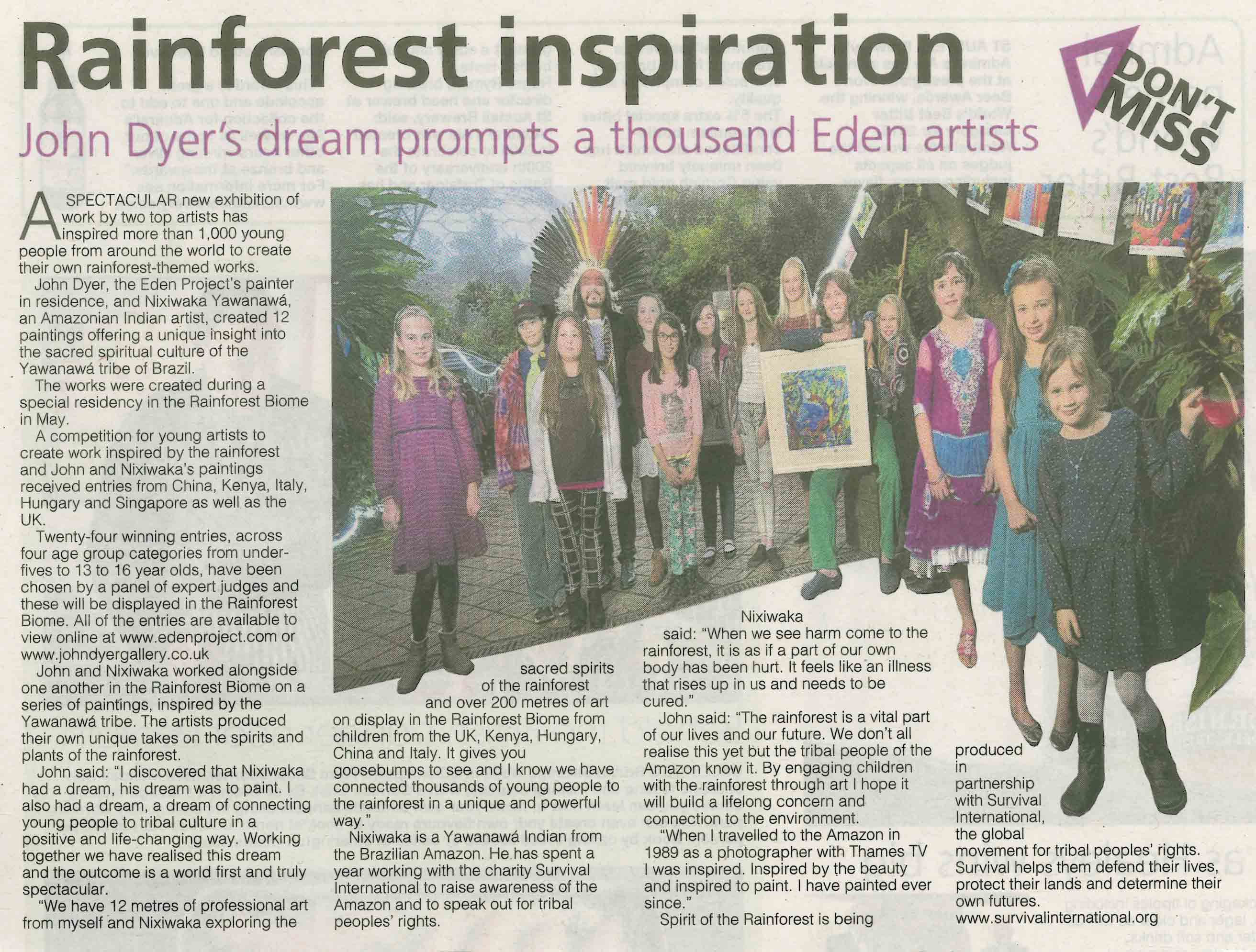 John Dyer at the Eden Project featured in the West Briton Newspaper