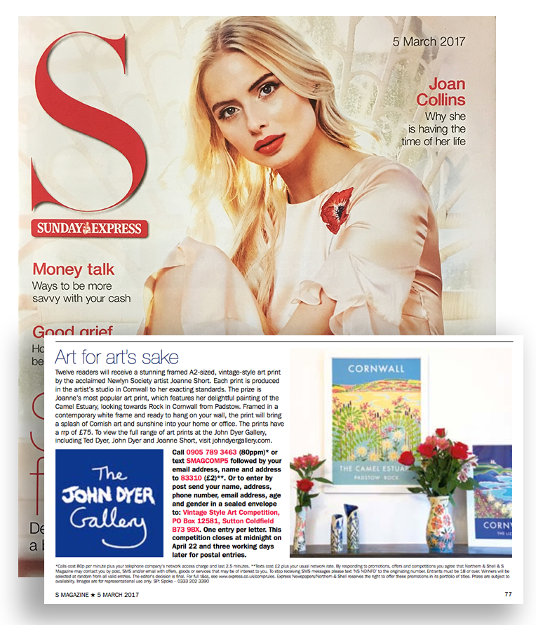 Sunday Express S Magazine feature with John Dyer Gallery Art Posters