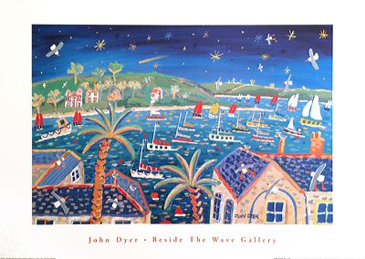 John Dyer Art Group Beside The Wave Gallery art poster of Halle Bop Comet over Falmouth in Cornwall