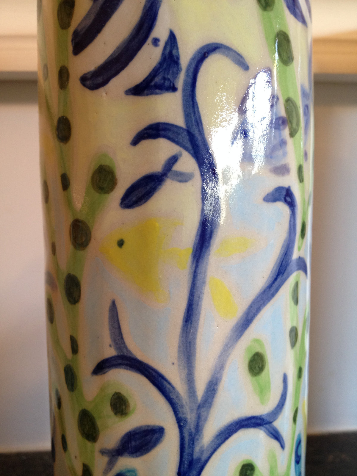 Joanne Short Ceramic Vase from Cornwall. Cornish Fish and Seaweed