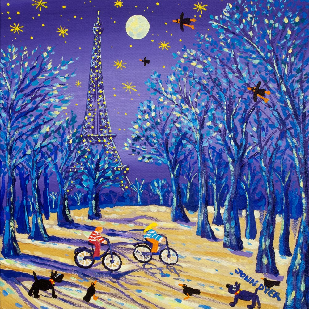 Moonlit Eiffel Tower in Paris. Two cyclists on bikes ride past. Scotty dogs and black birds. Art print by John Dyer.