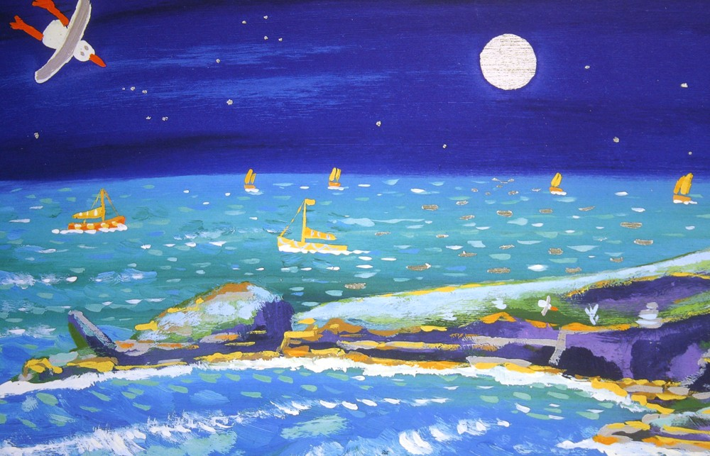 Limited Edition Print by John Dyer. Full Moon over Housel Bay, the Lizard Lighthouse, Cornwall.