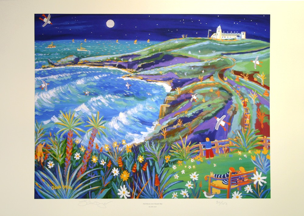 Art print of Housel Bay in Cornwall by John Dyer. Nighttime with moon and surf.