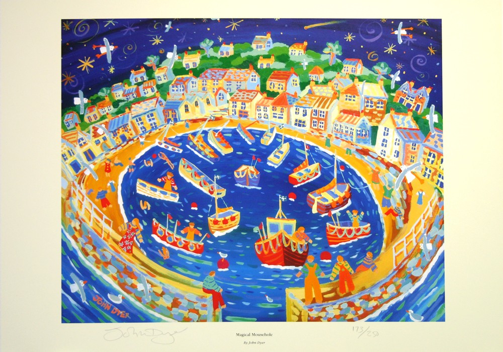 Mousehole harbour at night with comet and stars - signed print by Cornish artist John Dyers