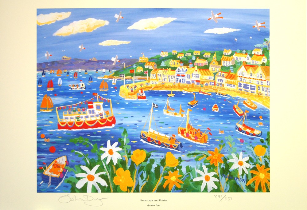Limited Edition Print by John Dyer. Buttercups and Daisies, St Mawes, Cornwall.