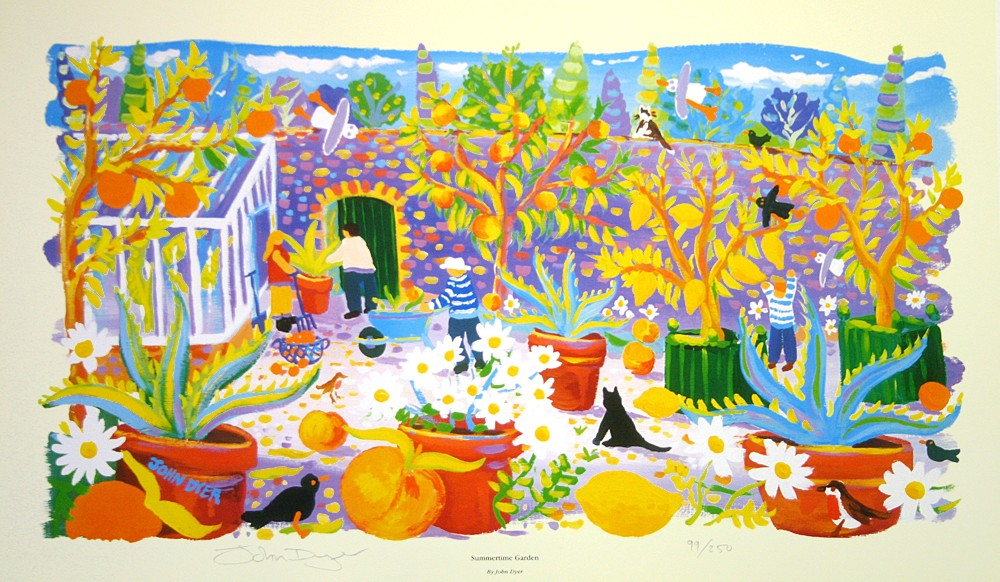 Art print by John Dyer of Heligan Gardens in Cornwall. Lemon trees and oranges. Summer garden.