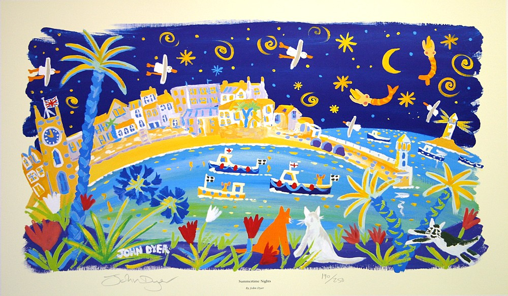 Two cats look across the sea to St Ives in Cornwall. Night sky with topless mermaids and seagulls. Art print by Cornish artist John Dyer. Agapanthus flowers and palm trees. Black and white cat.