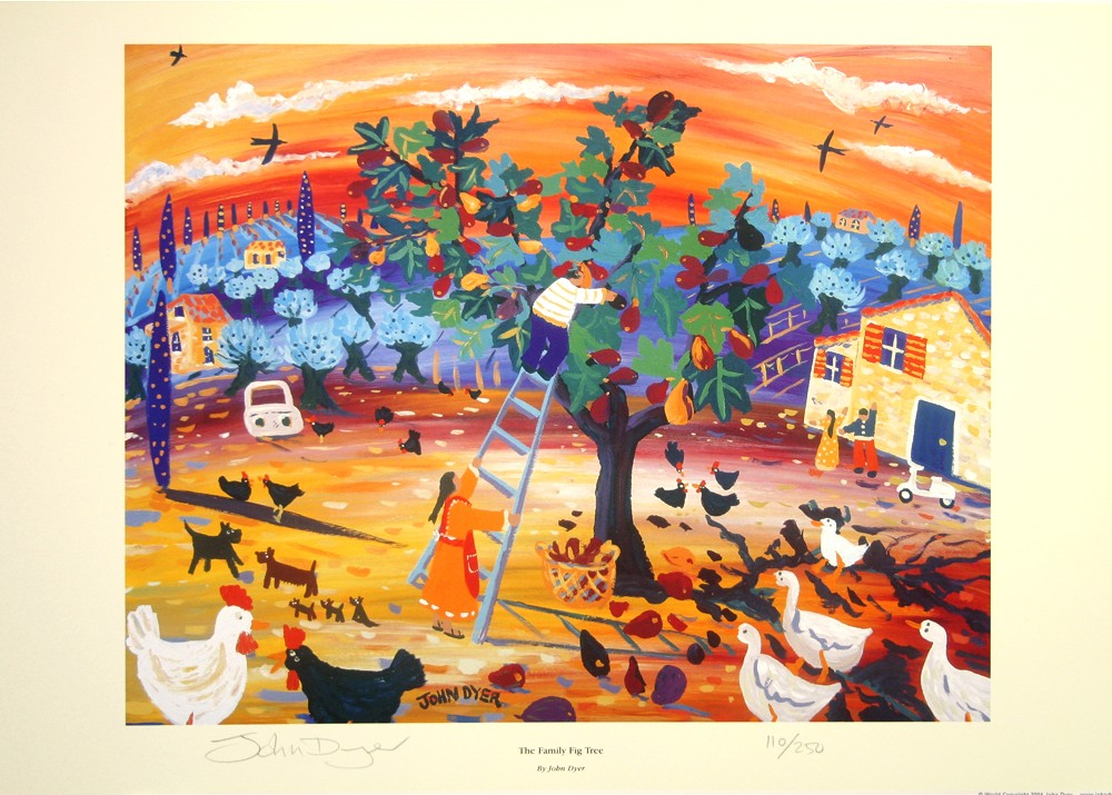 John Dyer art print of a family harvesting figs in Italy. Chickens, ducks and a sunset.
