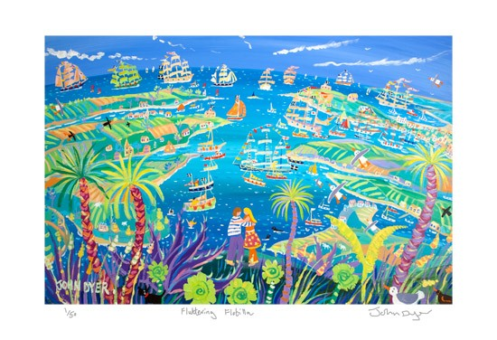 Fluttering Flotilla. Signed Limited Edition Tall Ships print by Artist in Residence John Dyer