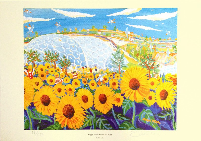 Happy Sunny People and Plants. The Eden Project. Official Signed Print by John Dyer