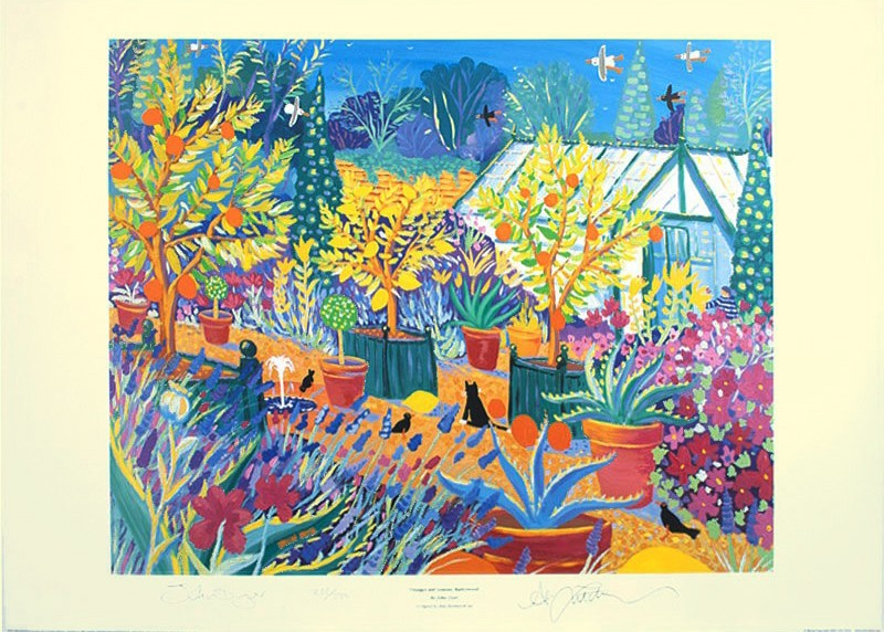 Painting by John Dyer of Barleywood, the BBS Gardeners' world garden curated by Alan Titchmarsh