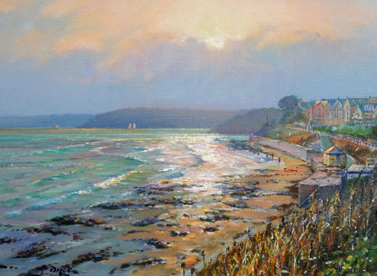 Original Oil Painting on Canvas. Sparkling Light. Castle Beach, Falmouth. By British Artist Ted Dyer.