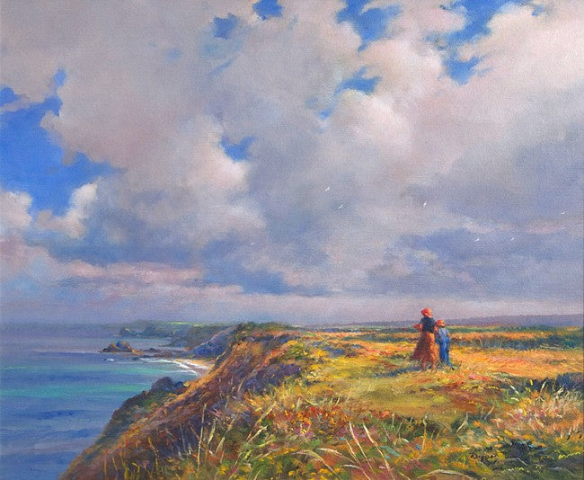 Late Summer, North Cliffs, Cornwall.  By British Artist Ted Dyer. Original Oil Painting on Canvas.