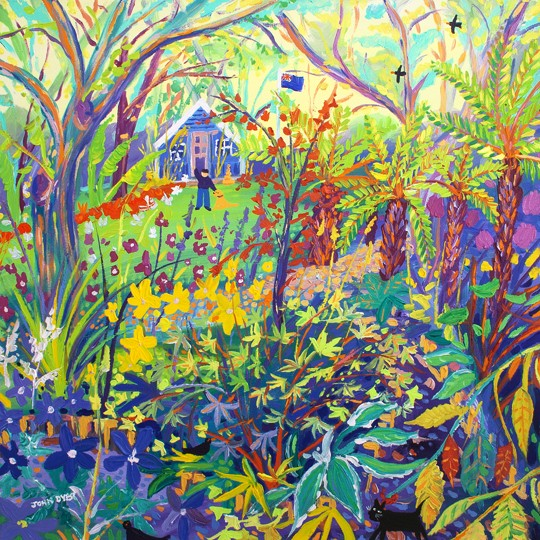Original Painting by John Dyer. Alan and the Tree Ferns, Barleywood. The Garden of Alan Titchmarsh. BBC Gardeners' World Garden.