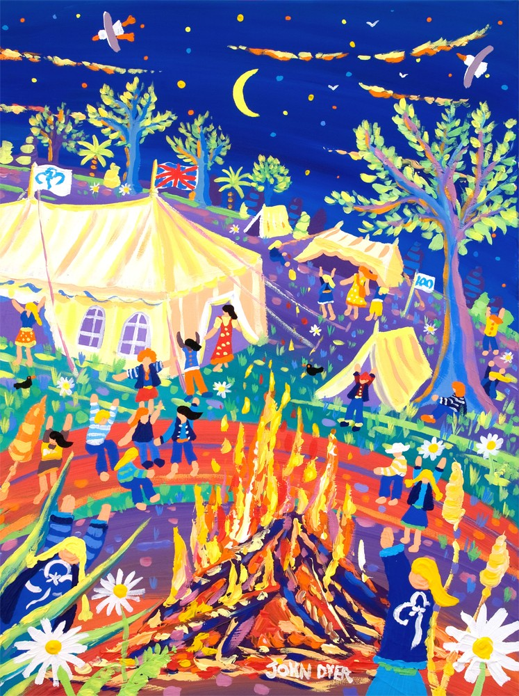 Limited Edition Print by John Dyer. 100 Years of Fun! Girl Guides Official Centenary Print for the Rainbows, Brownies, Guides.