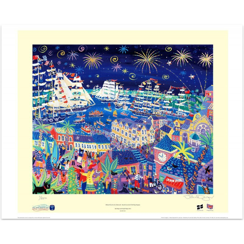 Official Limited Edition Print. Tall Ships and Small Ships 2014. Falmouth - Royal Greenwich Tall Ships Regatta 2014