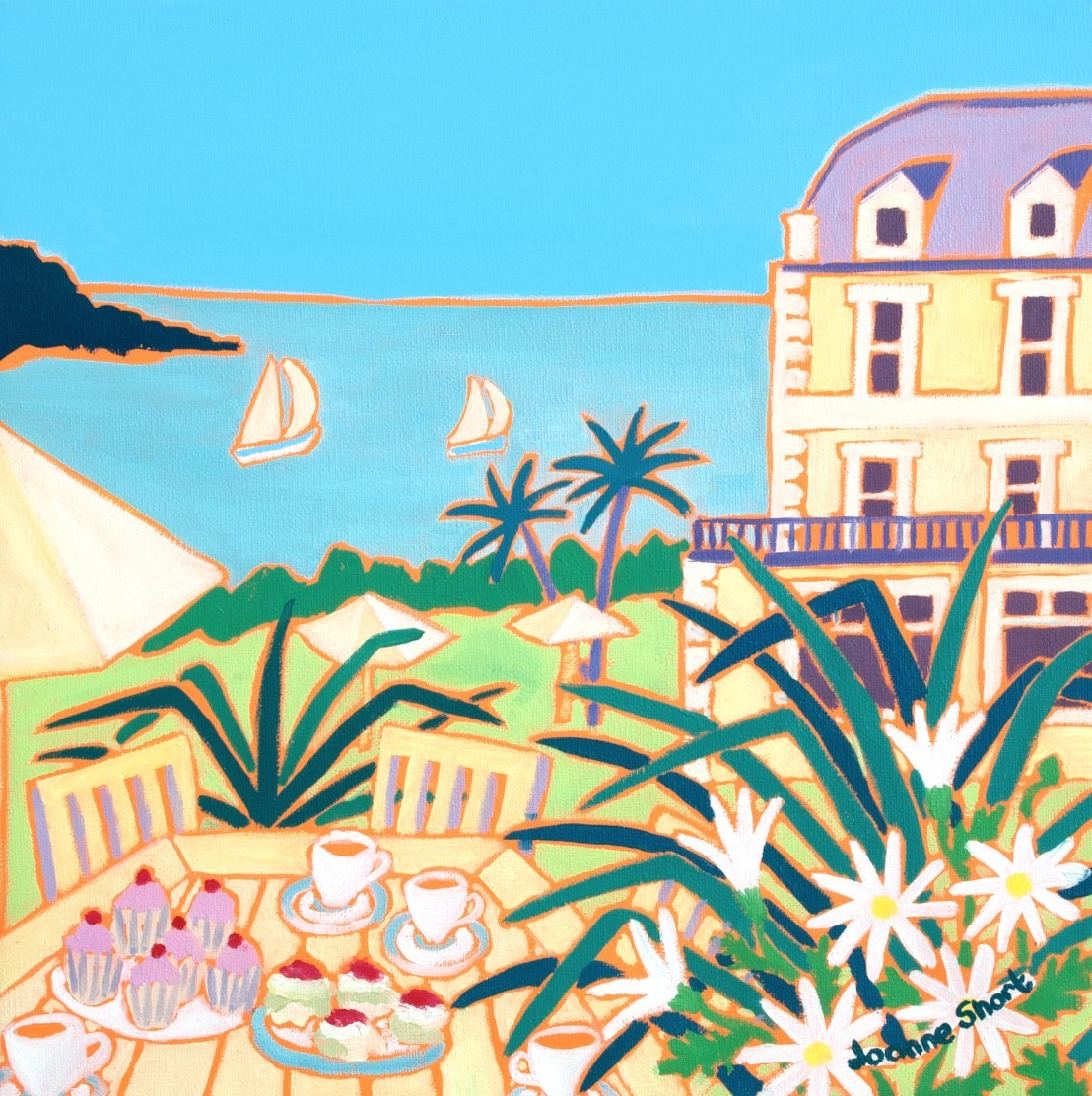 Afternoon Tea at the Hotel, Fowey. Limited Edition Print by Joanne Short