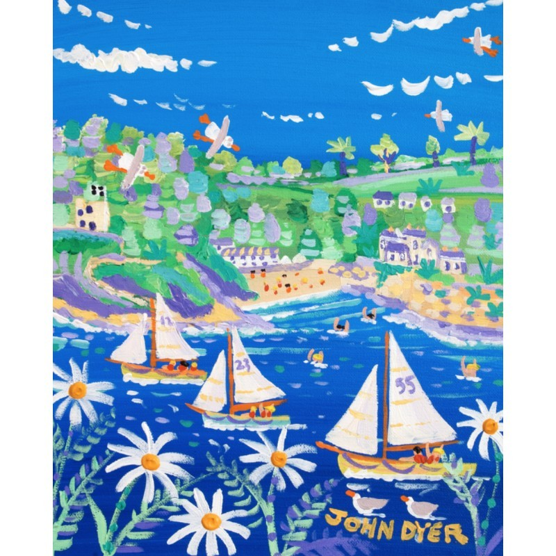 Racing Down the River, Fowey. Limited Edition Print by John Dyer