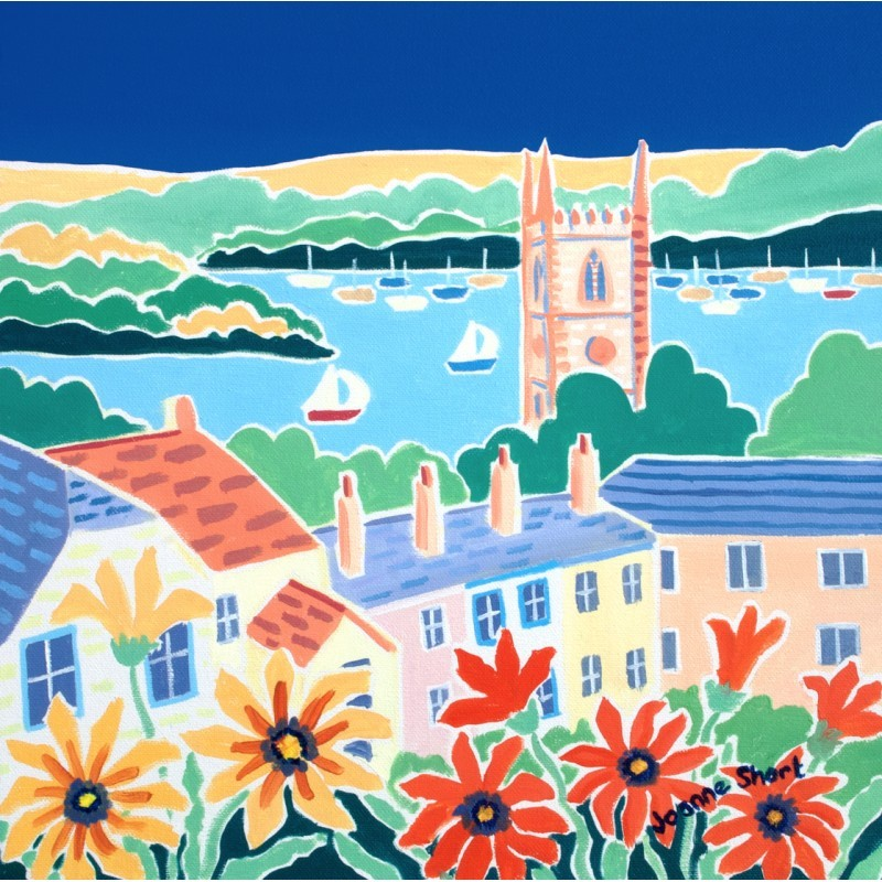 Over the Rooftops, Fowey. Limited Edition Print by Joanne Short