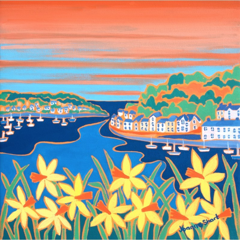 Spring Sunset, Fowey. Limited Edition Print by Joanne Short