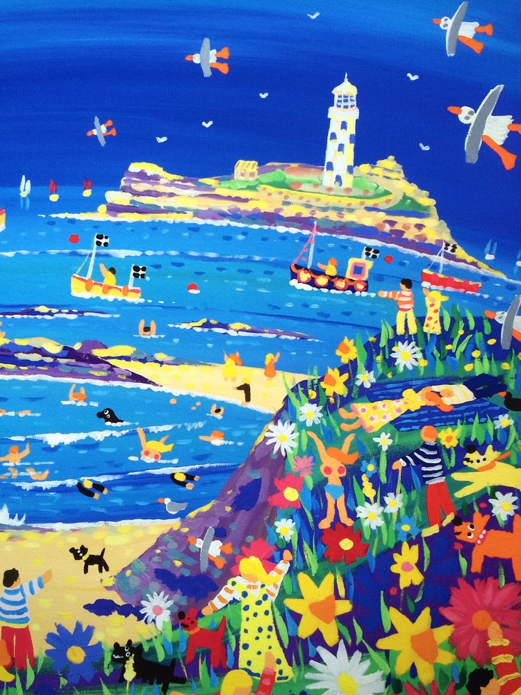 Spring Fun, Godrevy. Limited Edition Print by Cornish Artist John Dyer