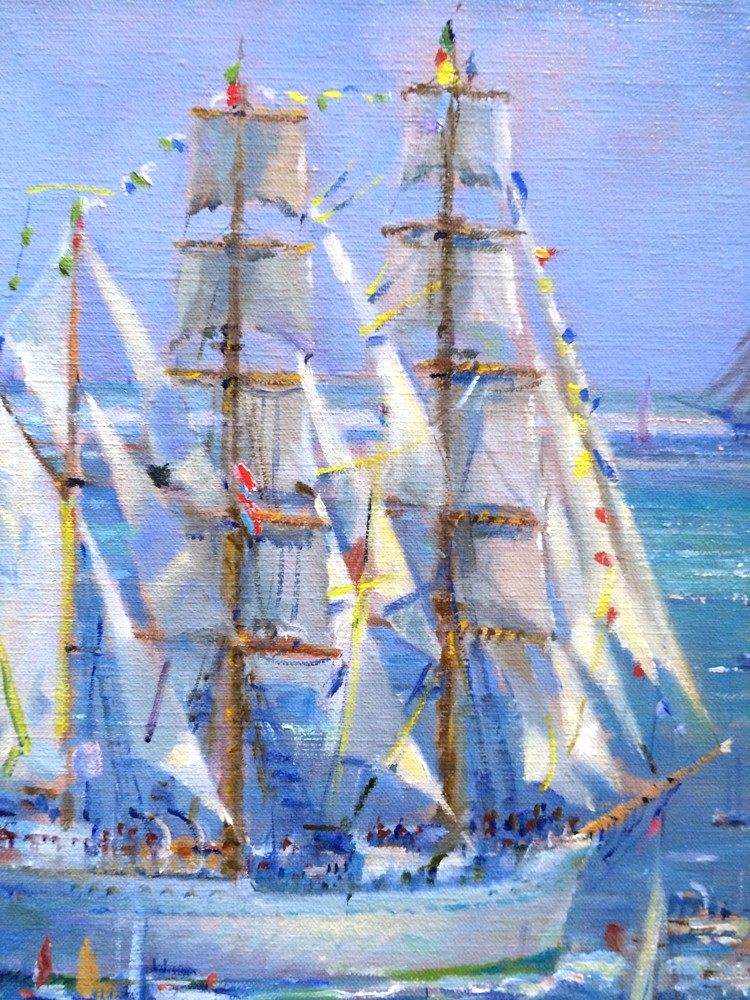 Original Oil Painting. Sunlight on the Sails, Falmouth Tall Ships Regatta. By Ted Dyer.