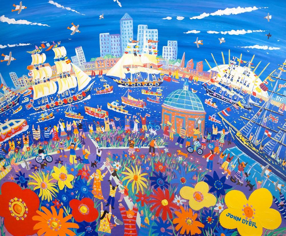 Tall ships at Greenwich in London sailing down the Thames river. O2 arean and the city of London. Limited edition print by British artist John Dyer.