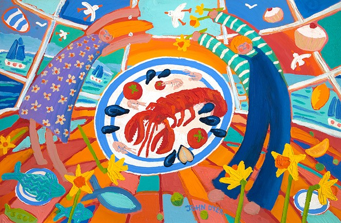 Dancing before Dinner. Original Painting by John Dyer featuring Cornish Lobster