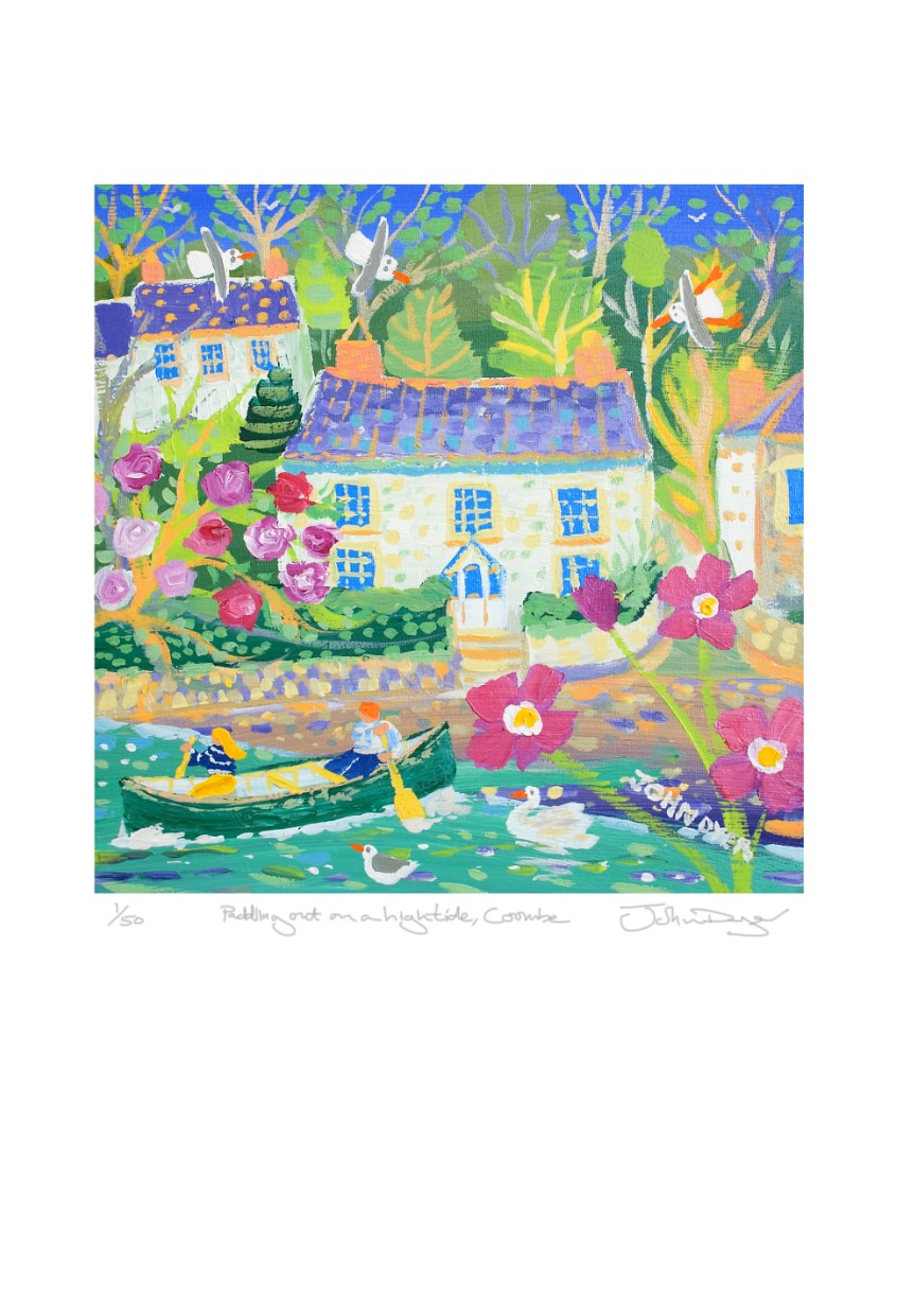 Limited Edition Print by John Dyer. Paddling out on a High Tide, Coombe, Truro, Cornwall.