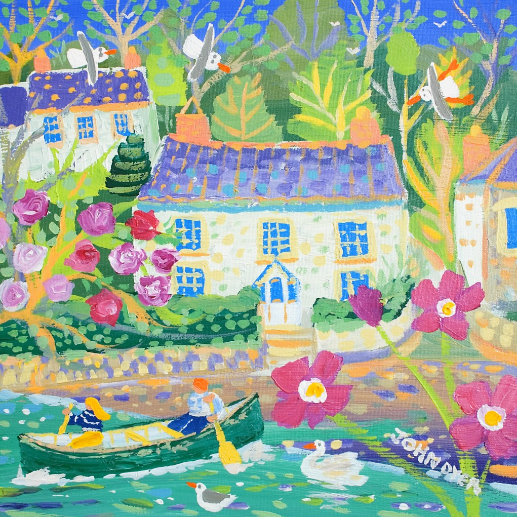 Art print by John Dyer of the river and canoe at Coombe near Truro in Cornwall.