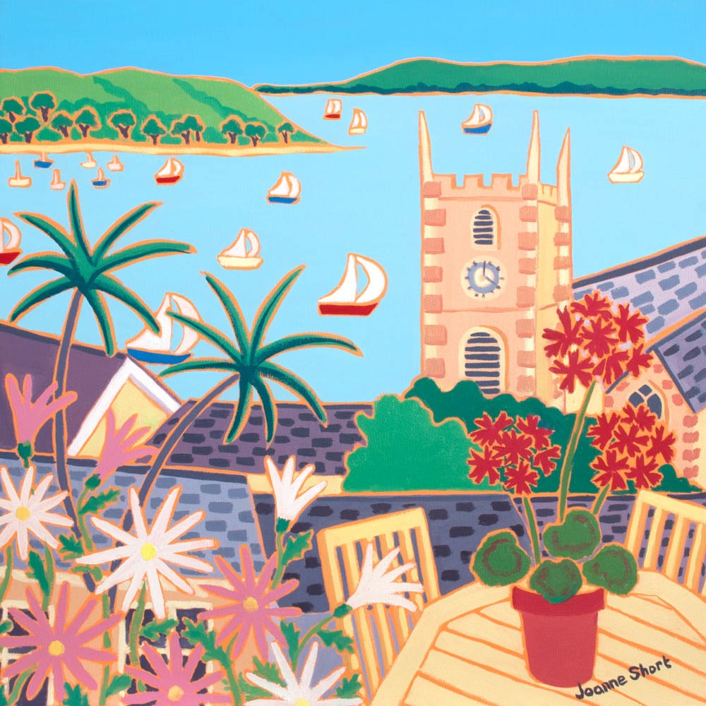 View from the Garden, Falmouth. Limited Edition Print by Joanne Short. King Charles Church, Falmouth