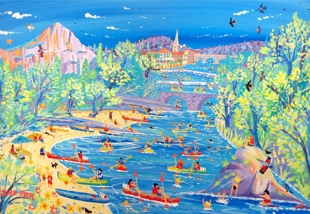 Art print of the canoes on the river at Saint Antonin, Noble Val, France by artist John Dyer.