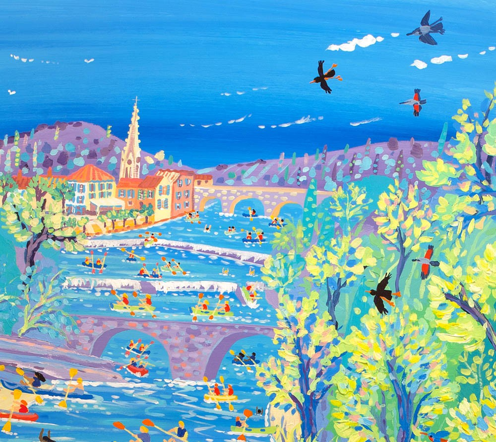Limited Edition Print by John Dyer. Fun on the River, Saint Antonin, Noble Val, France.