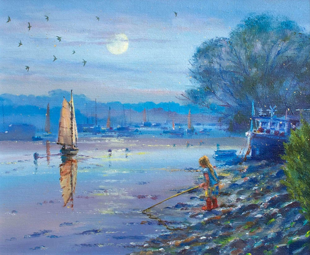 Original Oil Painting on Canvas. Exploring in the Silvery Light.  By British Artist Ted Dyer.