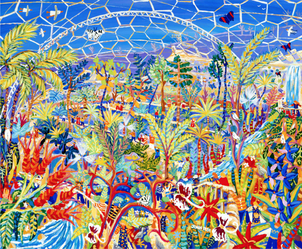 Signed Print by The Eden Project's artist John Dyer. Garden of Eden rainforest biome.