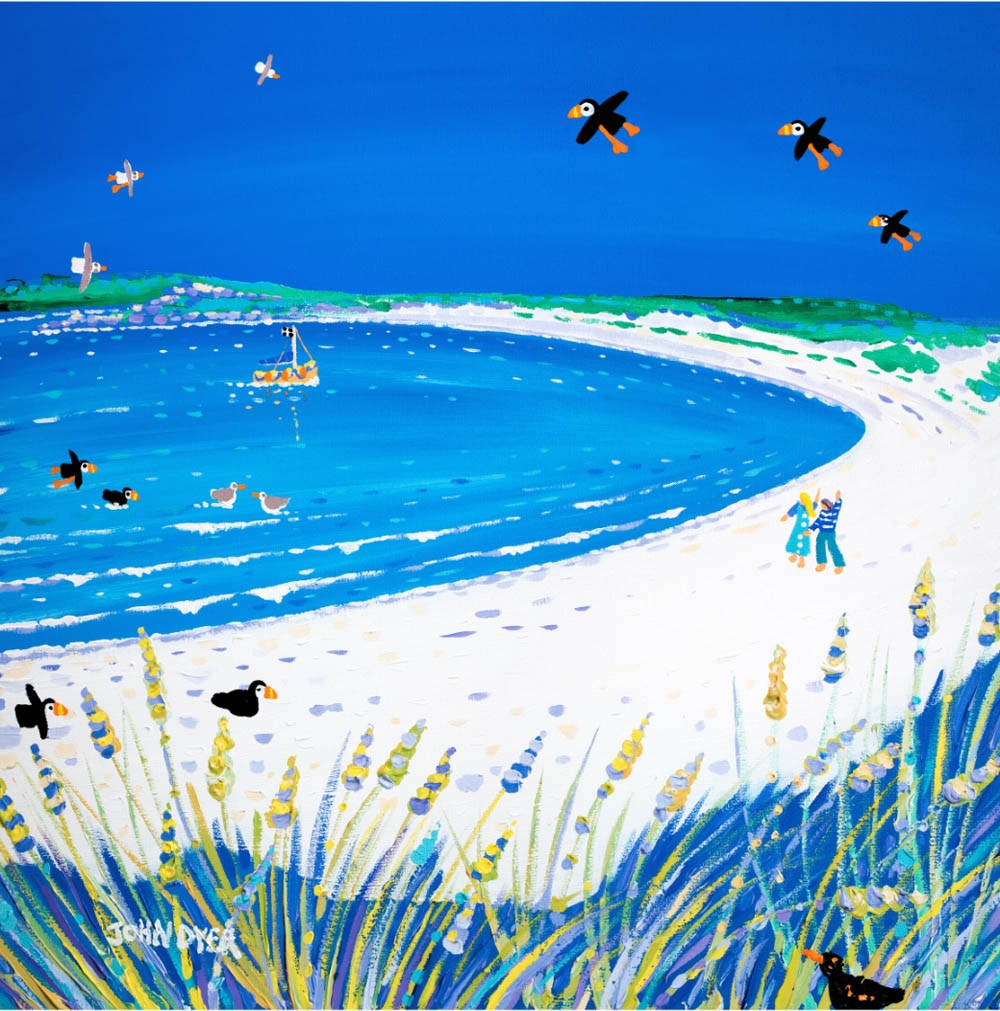 Pentle Bay beach on the island of Tresco painted by Cornish artist John Dyer. Blue sjk, white sand, puffins, seagulls.
