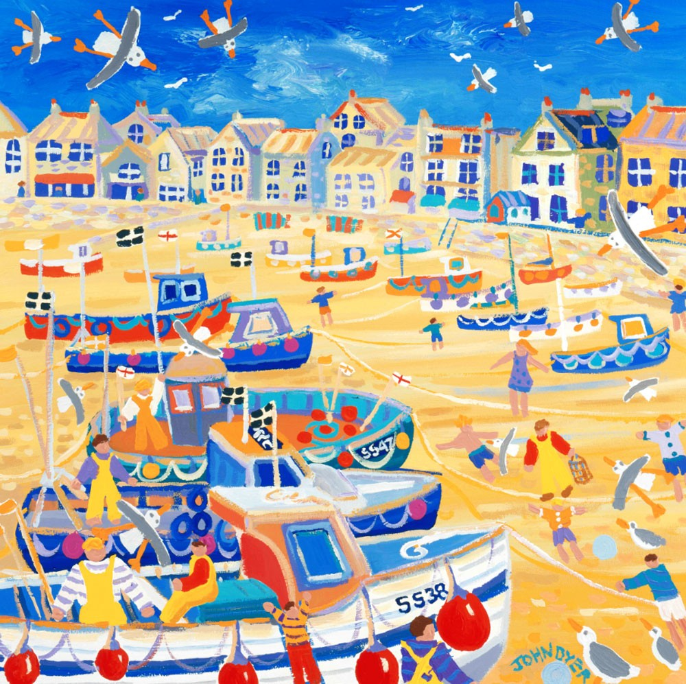 Signed Print by Cornish Artist John Dyer. Boats and Ropes St Ives