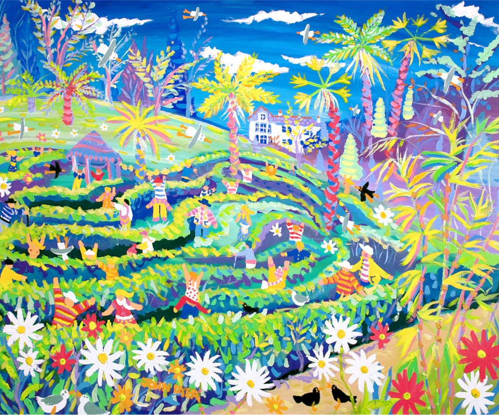 Signed Artist Print. Amazing Mayhem in the Maze in May, Glendurgan Garden by John Dyer.